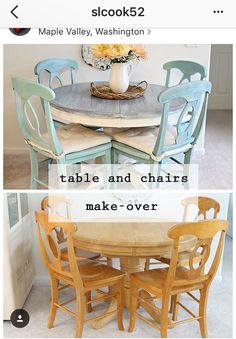 table redo with cream and a drift wood top and a soft aqua paint for the chairs