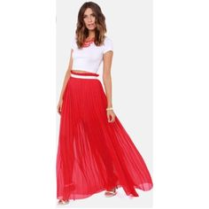 Pleated Red Maxi Skirt Gorgeous and flowy. Bought on Lulus Lulu's Skirts