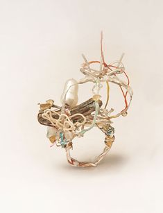 Amelie Spitz. Ring: Festival Ring, 2016/2017. Silver, gold, enamel, mother of pearl, crushed gemstones, wood, thread, 3D pen.. 4 x 4 x 8 cm. Photo by: Amelie Spitz. From series: Imagine Vol.2.
