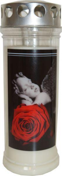 Jeka Gedenk Kerze 215x75mm Rose-Engel bis zu 7 Tage Seven Days, Wax, Plants