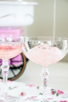 A sweet fluffy twist on a classic champagne and gin cocktail