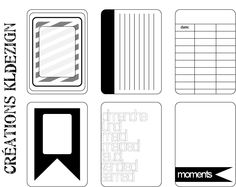 Printables -- Black & White Journal Cards 2 from KLdezign {French blog - Enlarge image and right click to save file}