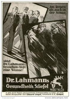 Original-Werbung/ Anzeige 1924 - DR. LAHMANN'S WEISSER HIRSCH GESUNDHEITS- STIEFEL - ca. 90 x 130 mm