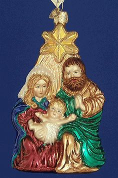 Holy Family Nativity Star Glass Ornament by Old World Christmas