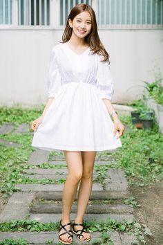BAUHAUSV-Neck Empire Waist Mini Dress | MIX X MIX | Shop Korean fashion casual…
