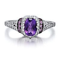 Amethyst, Lab-Created Pink Sapphire & 1/10 ct. tw. Diamond Ring in Sterling Silver