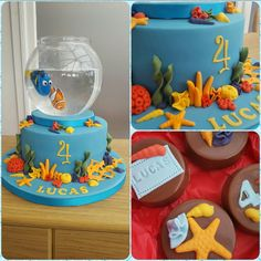 Nemo and Dory cake with robo fish