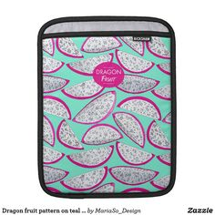 Dragon fruit pattern on teal background iPad sleeve