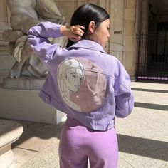 Pearly tears ˚✧˳✧༚ Oops I customized my jacket from - Zoé from Paris ( Purple Outfits, Trendy Outfits, Cool Outfits, Summer Outfits, Fashion Outfits, Purple Aesthetic, Aesthetic Fashion, Aesthetic Clothes, Lavender Aesthetic