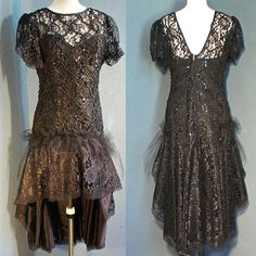 THIS was my prom dress uh before they upcycled it lol :D  1990 Upcycled Vintage Black Lace Prom Dress with by EnergyAndPeace