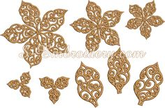 Designs in the 10635 Poinsettia free standing lace Christmas ornament set