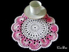 Crochet Small Doily White Doily Shaded Pink Doily Crochet