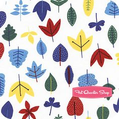 In the Forest Organic White Leaves Yardage Cloud9 Organic Fabrics