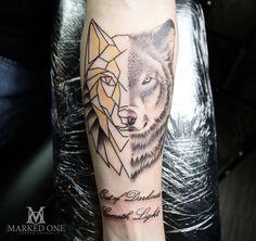 Half and half tattoo. Geometric tattoo and Realism tattoo. Wolf animal tattoo on forearm by Adam Howard of Marked One Tattoo. Tattoo Studio, Mark One, Tattoo Wolf, Realism Tattoo, Custom Tattoo, Forearm Tattoos, First Tattoo, Henna, Piercings