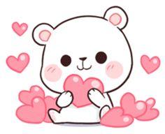 Bear Couple : Milk & Mocha by Shortie sticker Cute Couple Cartoon, Cute Cartoon Pictures, Cute Love Pictures, Cute Love Cartoons, Cute Kiss, Cute Love Gif, Cute Bear Drawings, Kawaii Drawings, Calin Gif