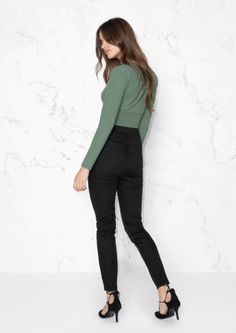 & Other Stories image 3 of High Waist Twill Trouser in Black