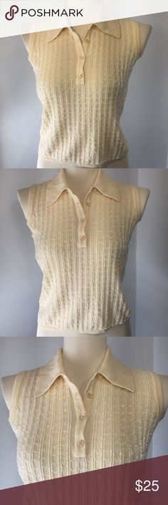 """Banana Republic Beaded Knit Top Classic lines with a pretty beaded twist. Pale yellow with beaded stripes. This top is weighty but comfy. Pair it down with a khaki skirt or up with skinny whites and heels.  EUC with the exception of a couple minor loose beads. 18"""" p2p. 20"""" long. Banana Republic Tops"""