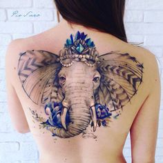 Watercolor elephant tattoo by Pis Saro
