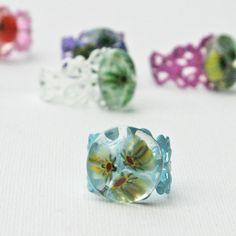Botanicals - French Fused Glass Millefiori Cocktail Ring Adjustable Filigree. €15.00, via Etsy.