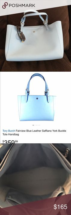 Tory Burch York Buckle Tote I've had this bag for a year & only used it a couple times for travel--It's a beautiful bag, but too big for me.  15 x 6 x 11 in Light Blue Tory Burch Bags Totes