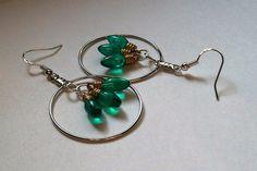 Christmas Light Bulb Earrings, Hoop Earrings, Christmas Earrings, Green Colored Earrings, Hoop Christmas Earrings by VintagePlusCrafts on Etsy
