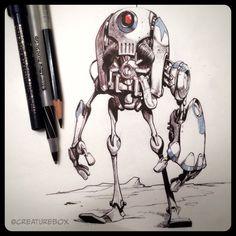 "creaturebox: ""The outcasts from the Gordrillian Mech Wars were left to walk the plains of the Dark Sector. Character Concept, Character Art, Dark Sector, Robots Drawing, Dino Drawing, Arte Robot, Arte Cyberpunk, Graffiti, Robot Concept Art"