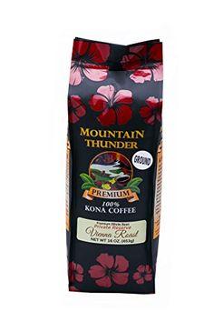 Kona Coffee - Private Reserve - Ground - Vienna Roast - 16 Ounce Bag - by Mountain Thunder Coffee Plantation Kona Coffee, Best Coffee, Amazon Website, Premium Coffee, Coffee Tasting, Coffee Creamer, 1 Pound, Coffee Beans, Vienna