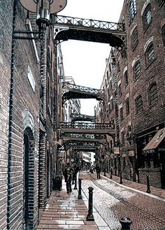 """Butler's Wharf"" linocut by Graham Spice. http://spicelinoprints.co.uk/ Tags: Linocut, Cut, Print, Linoleum, Lino, Carving, Block, Woodcut, Helen Elstone, Industrial, Staircase, Red Brick, Bridges, Bridge, Post, Lamp, Buildings, Warehouses."