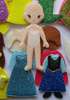 Non paper felt doll with outfit for princess princess dress up doll pretend play travel toy dollhouse quiet book busy bags books christmas clothet womenfashion lorena Princess Dress Up, Princess Outfits, Princess Anna, Dollhouse Toys, Travel Toys, Dress Up Dolls, Felt Toys, Quiet Books, Educational Toys
