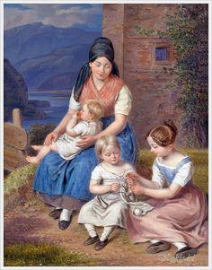Franz Bernhardt (Swiss, 1800 – 1860) «The Knitting Lesson»