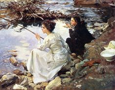 John Singer Sargent - Two Girls Fishing