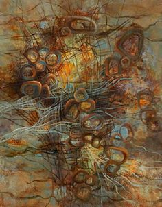 """Daily Painters Abstract Gallery: Contemporary Abstract Painting """"Floating Winds"""" by Contemporary Realism Artist Carol A. McIntyre"""