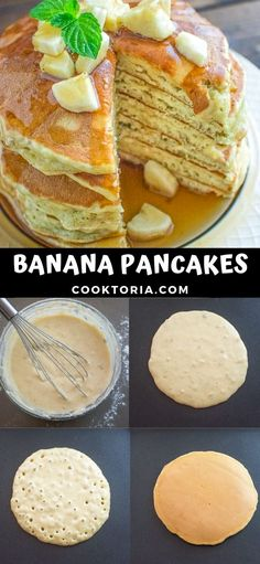 pancake healthy This banana pancake recipe is truly a treasure. The pancakes taste incredible, the ingredient list is simple and they turn out fluffy every time! Cooktoria for more deliciousness! Vegetarian Breakfast, Breakfast Recipes, Sunday Breakfast, Nutella, Chocolate Chip Pancakes, Homemade Pancakes, Spiralizer Recipes, Cooking Recipes, Yummy Food
