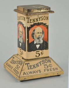 This Tennyson cigar holder has minor to moderate wear. Heavier wear to lid. on Jun 2015 Look Vintage, Vintage Tins, Vintage Labels, Vintage Metal, Retro Vintage, Vintage Canisters, Antique Shops, Vintage Antiques, Vintage Packaging