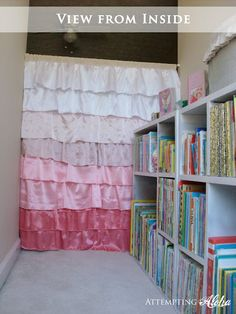 Attempting Aloha: Playroom Reading Nook: my kids would love this! Ruffle Curtains, Cute Curtains, Closet Curtains, Pottery Barn Christmas, Pottery Barn Kids, Kids Lamps, Woman Cave, Kids Zone, Kid Spaces
