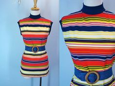 1960s Mod Top / Vintage 60s Blouse / Striped Racer by SnapVintage