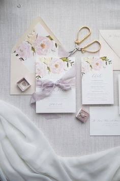 Blush and Pale Purple Watercolor Floral Wedding Invitation