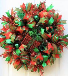 Christmas Wreath Red Emerald Christmas Wreath Deco Mesh