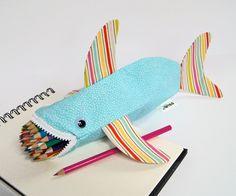 Shark Bag - Zipper Pencil Case - Fun Childrens Gift: Pastel Beach Shark Bite. $35.00, via Etsy.