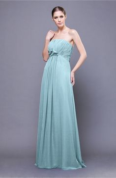 Aqua Bridesmaid Dress - Elegant Empire Sleeveless Zip up Chiffon Sweep Train