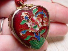 Vintage Cloisonne Heart Box Pendant by SomeLittleStars, $24.00