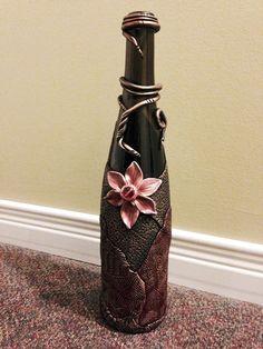 Luna Blue Creations: First Bloom Polymer Clay Wine Bottle