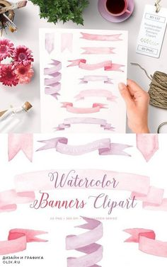 Watercolor Banners Ribbons Graphics 510148