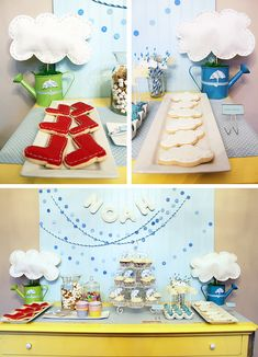 April Showers party theme: adorable dessert table featuring clouds, raindrops, rainbows, and rainboot elements