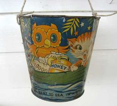 1930's Vintage LIthographed Tin Sand Pail by kelleystreetvintage