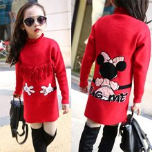 Retail Girls Knitted Dress with Long Sleeve 2016 New Kid Girl Long Sweater Dress for Winter Christmas Children Clothes Pullover(China (Mainland))