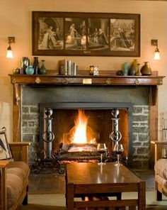 love the Waterhouse paintings above the mantel. Craftsman Fireplace, House Design, Craftsman Style Bungalow, Craftsman Style Interiors, Craftsman Interior, Craftsman Style, Mission Style Furniture, Craftsman Style Decor, Craftsman Decor