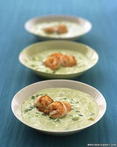 Avacado cucumber soup with grilled shrimp