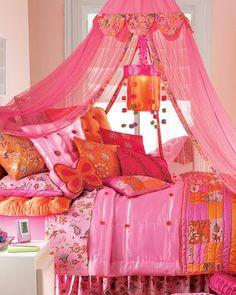hot pink and orange bedroom