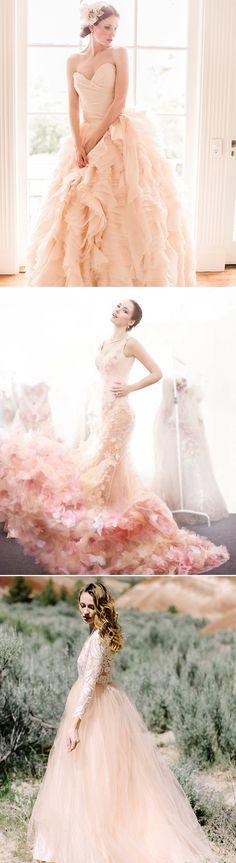 30 Oh-So-Romantic Pastel Wedding Dresses - Peachy Blush!